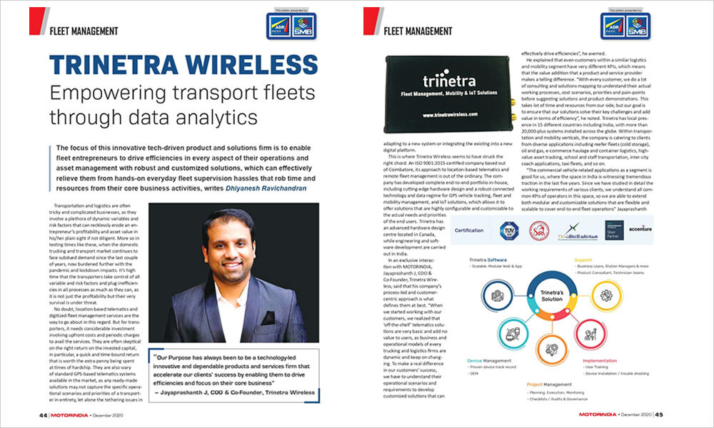 """Empowering transport fleets through data analytics"" published in MOTORINDIA."